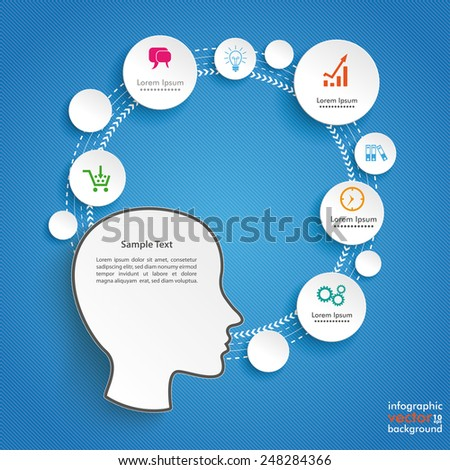 Infographic design with human head on the blue background. Eps 10 vector file. - stock vector