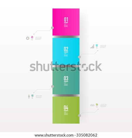 Infographic design with realistic 3d boxes on simple background with numbers and text can be used for workflow layout, diagram, chart, number options, web design.  Eps 10 vector illustration  - stock vector