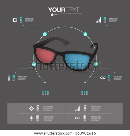Infographic design with realistic 3d glasses with minimal grey background can be used for workflow layout, diagram, chart, number options, web design.  - stock vector