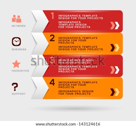 Infographic design with red orange navigation menu - stock vector