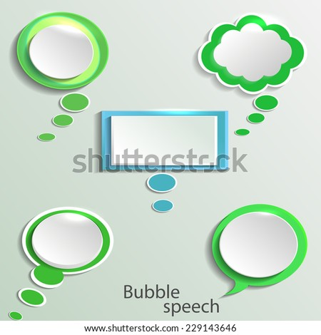 Infographic design with white communication bubbles on the green background. - stock vector