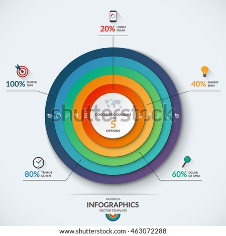 Infographic diagram template concentric circles vector stock photo infographic diagram template with concentric circles vector banner with 5 options 20 40 ccuart Images