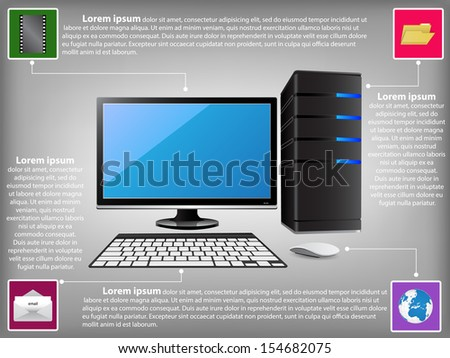 infographic diagram desktop computer pc technology stock vector hd desktop modem router diagram infographic diagram with desktop computer pc, technology and business concept, vector illustration eps 10