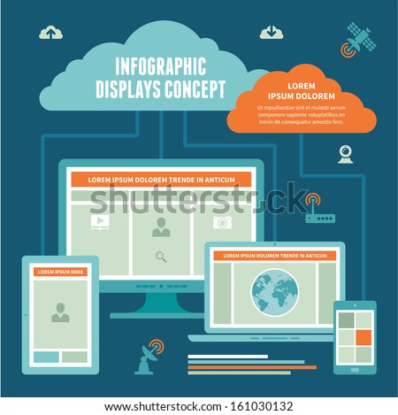 Infographic Displays Concept - Vector Scheme of Internet Connection with computer monitor, notebook, digital tablet & mobile devices on blue background. - stock vector