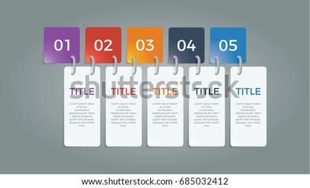 infographic element vector with five number options, use for step, workflow, diagram, banner, process, business presentation template, web design