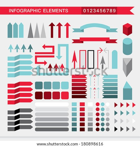 Infographic elements: arrows,signs,bars, buttons,borders etc. Vector illustration - stock vector