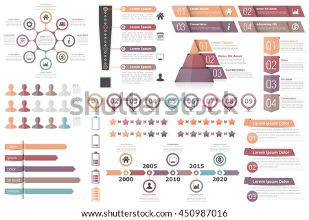 Infographic elements-circle diagram, text boxes with numbers and icons, pyramid chart, bar chart, timeline infographics and other infographic objects, business infographics, vector eps10 illustration - stock vector