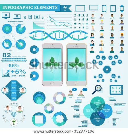Infographic elements, doctor and patient icons, diagrams. Digital marketing in pharmaceutical company - stock vector