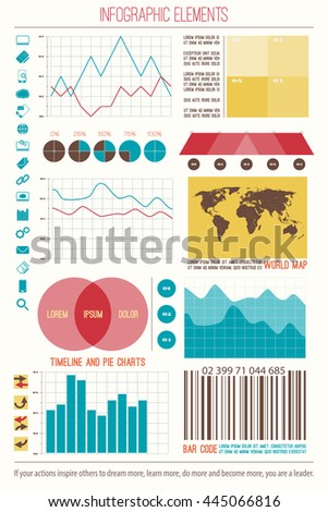 infographic elements, internet technology icons. vector time line option graph, bar code symbol. pie chart info graphic icon. economy statistic and financial growth report presentation banner template - stock vector