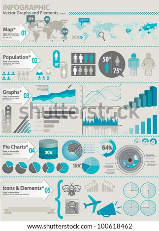 INFOGRAPHIC ELEMENTS KIT. Set of global financial icons and graphic elements. - stock vector