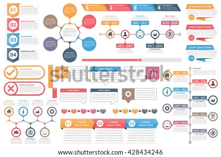 Infographic elements - objects with numbers amd text, timeline infographics, check and cross symbols, circle diagram, speech bubbles, process charts infographics, vector eps10 illustration - stock vector
