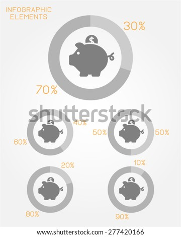 infographic elements pie chart template finance economy money savings banking wealth investment collect charity vector icon - stock vector