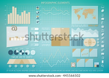 infographic elements, web technology icons on tablet display. vector economics timeline graph. pie chart info graphic icon. financial statistic and marketing report presentation banner template - stock vector