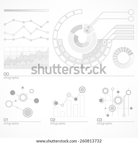 Infographic elements with diagram and text in grey, vector illustration - stock vector