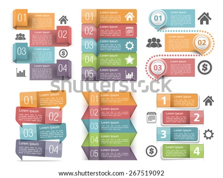 Infographic elements with numbers, icons and place for text, vector eps10 illustration - stock vector