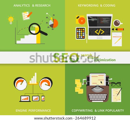 Infographic flat concept illustration of SEO. 4 items described  - stock vector