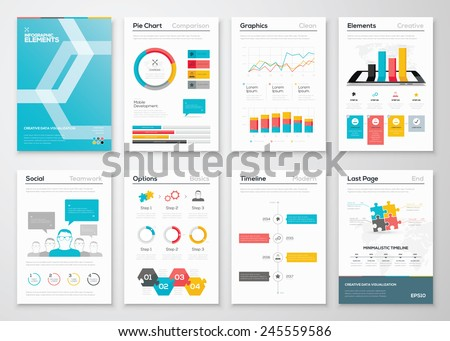 Infographic flyer and brochure designs and web templates vectors. Data visualization and statistic elements for print, website, corporate reports and graphic projects. - stock vector