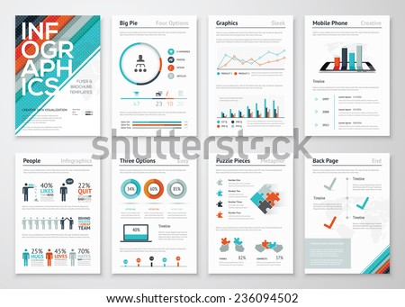 Infographic flyer and brochure elements for business data visualization. Vector illustration in modern flat info graphic style, that can be used for marketing, websites, print, presentation & mobile. - stock vector