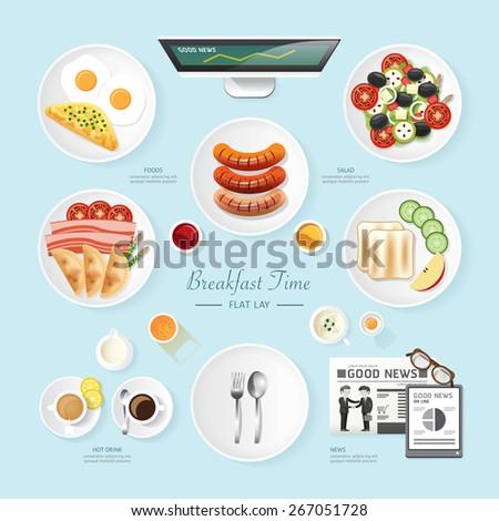 Infographic Food Business Breakfast Flat Lay Idea Saladmealtoastnews Vector