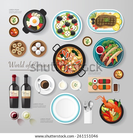 Infographic food business flat lay idea. Vector illustration hipster concept.can be used for layout, advertising and web design. - stock vector