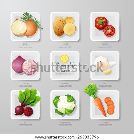 Infographic food vegetables flat lay idea. Vector illustration  concept can be used for layout, advertising and web design. - stock vector