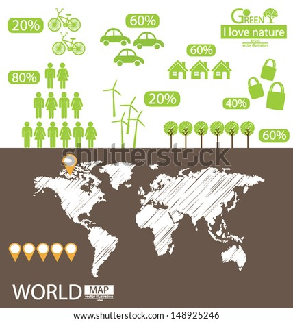Infographic. Go green concept. World Map vector Illustration