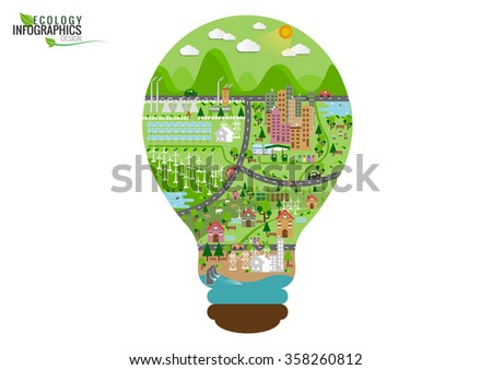 Infographic green ecology city and Renewable energy  friendly concept. Vector flat illustrations - stock vector
