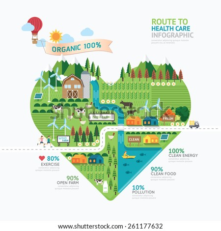 Infographic health care heart shape template design.route to healthy concept vector illustration / graphic or web design layout. - stock vector