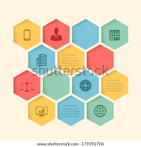 infographic honeycomb structure elements with icons set. vector graphic business modern template - stock vector