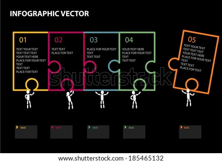 Infographic illustrating the pieces of a puzzle - stock vector