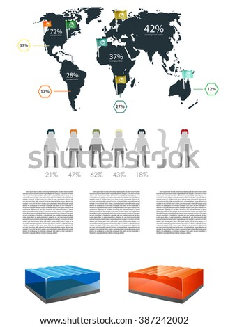 Infographic illustration with map and people - stock vector