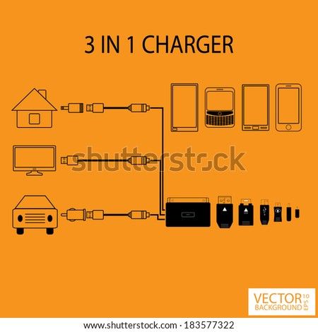 Infographic 3in1 charger - stock vector