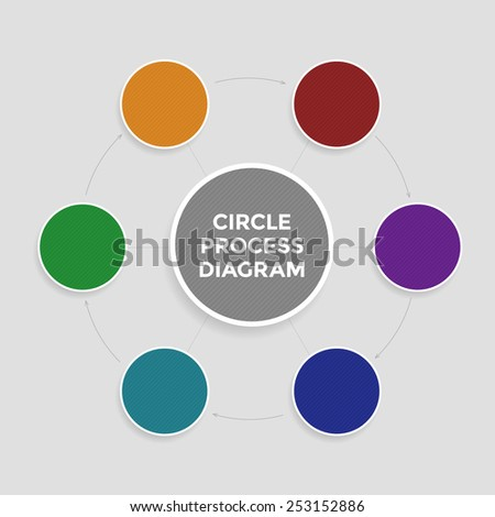 Infographic in the form of circle process diagram. Vector template of revert operations scheme for design of presentation, business plan, results of brainstorm, etc. - stock vector