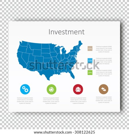 infographic investment usa map presentation template business layout design modern style vector design