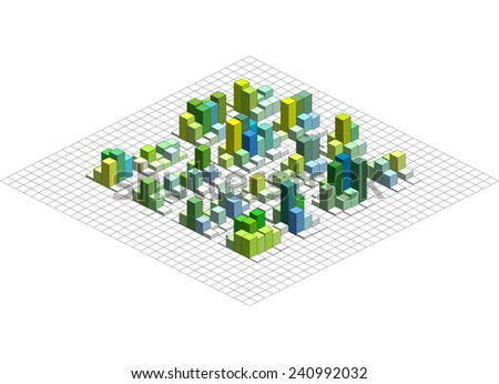 Infographic Isometric Vector Graph, Abstract 3D Chart Background.
