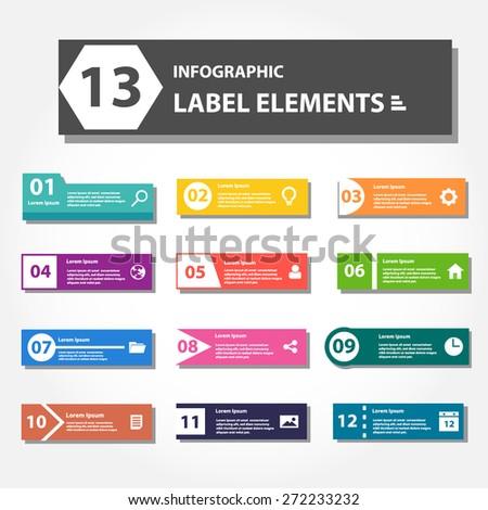 infographic label elements, menu bar, presentation template, web design - stock vector