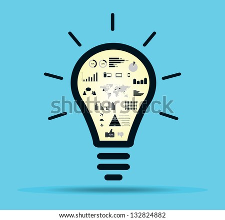 Infographic light bulb with drawing inside - stock vector