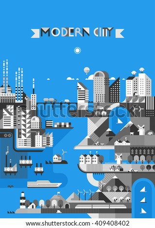 Infographic - modern city, industry, ecosystem and travel. Flat design. Transport links.  - stock vector