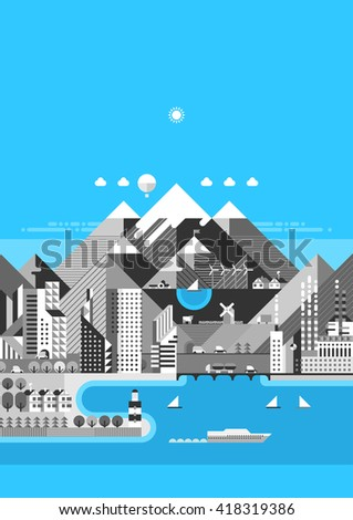 Infographic - Mountain city. Modern city, industry, ecosystem and travel. Flat design - stock vector