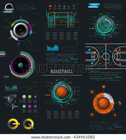 Infographic Music Elements with Vinyl and Speaker. Vector EPS 10 file. Transparency used.