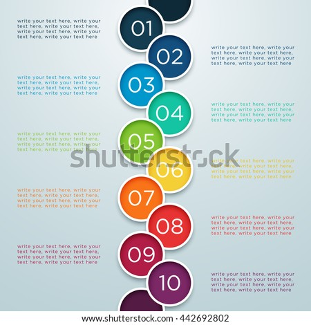 Infographic Numbers 1 to 10 In Overlapping Circles - stock vector