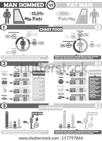 INFOGRAPHIC NUTRITION  GREY - stock vector