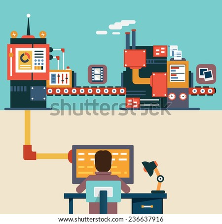 Infographic of application development for mobile devices - programming, creating and optimization application - vector illustration - stock vector