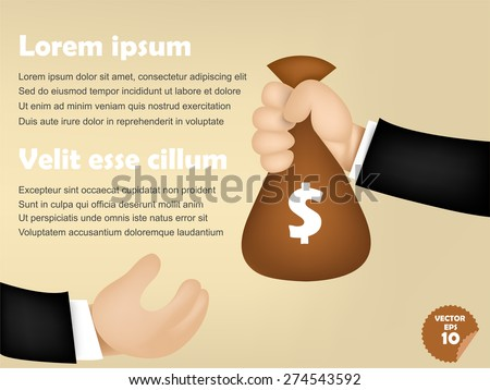 infographic of business man giving money bag to others, corruption concept - stock vector
