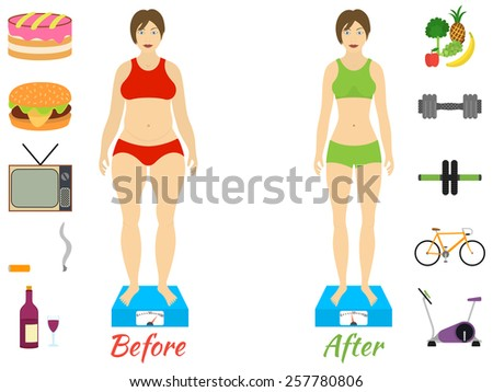 Infographic of fitness and sport, healthy lifestyle, women exists before and after the diet - stock vector