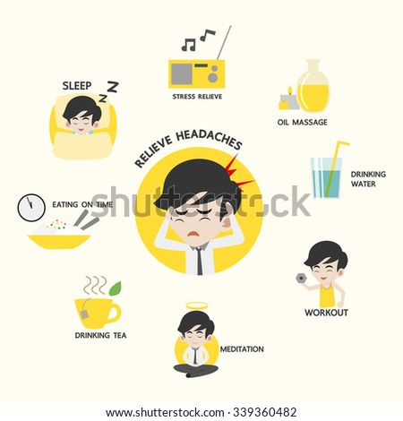 Infographic of healthy, 8 ways to prevent headache, Presentation through a male character, Flat Design Vector illustration. - stock vector