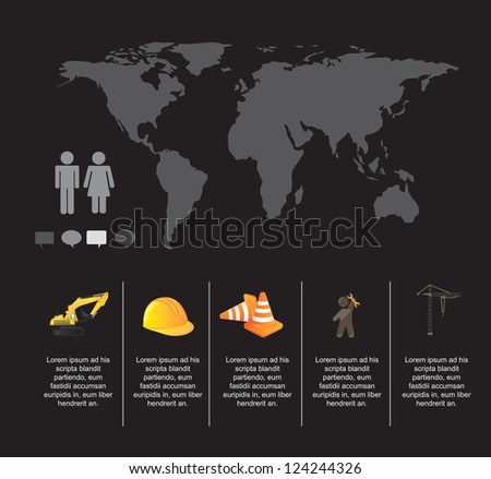 Infographic of under construction over black background - stock vector
