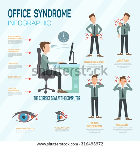 Infographic office syndrome Template Design . Concept Vector illustration - stock vector