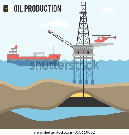Infographic, oil and gas in the sea and ocean, landing on offshore oil refinery, tanker ship service moving oil and gas offshore platforms. Vector illustration