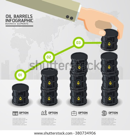 infographic oil barrels and a financial chart on white background. price oil up. business concept. - stock vector